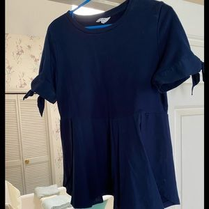 Crown and Ivy Navy Tie Sleeve Tunic Top